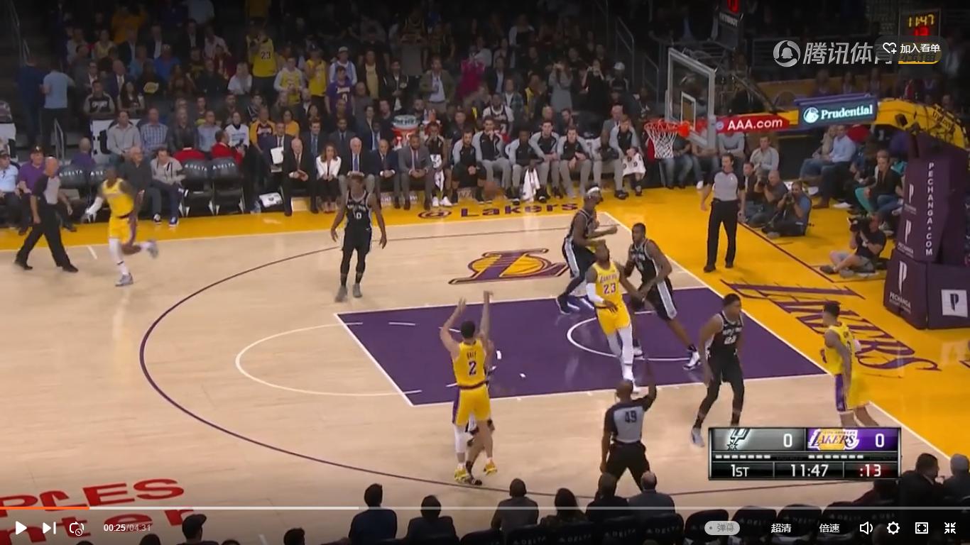 2018年10月23日 NBA常规赛 马刺VS湖人 全场高清录像回放-麦豆网